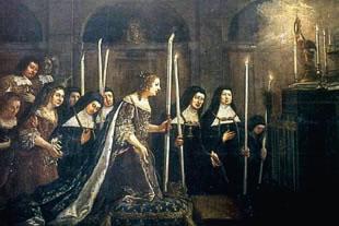 Ana de Austria adorando el Santísimo Sacramento.
