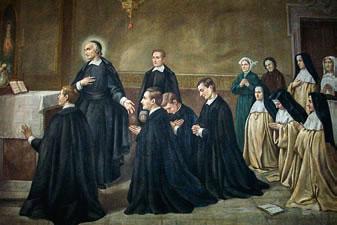San Juan Eudes con los miembros de las Congregaciones por él fundadas.