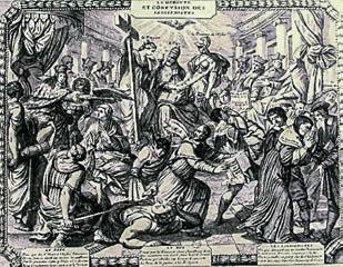 Grabado que representa la condenación de los jansenistas.